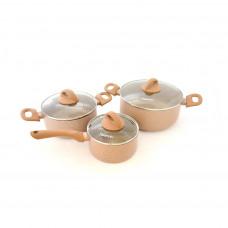 Набор посуды Fissman 6 пр. Latte со стеклянными крышками