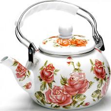 26491 чайник эмаль 2,5л с/кр цветы mb (х18)
