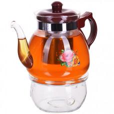 29345 чайник стекло 1250мл+ подогрев,сито мв (х12)