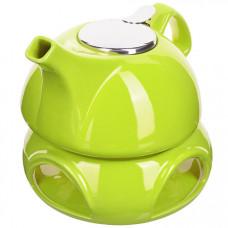 28686-2 завар/чайник зеленый 950мл подст/подогрев lr (х8)