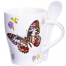 28478 кружка бабочка 340 мл с ложкой lr (х36)
