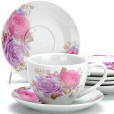 25927 чайный сервиз 12пр 220мл цветы lr (х6)