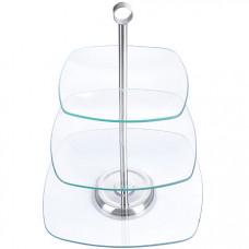 28567 ваза конфетница 3х ярусная стекло lr (х6)