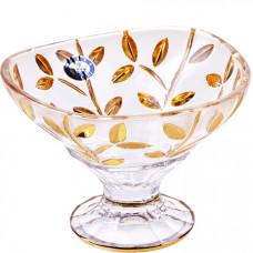 588- 037 конфетница на ножке 13см..golden/ст(х24)стекло