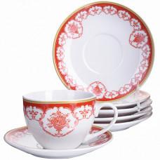 28586 чайный набор 12пр 220мл фарфор под/упlr (х8)