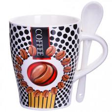 28473 кружка coffee 340 мл с ложкой lr (х36)