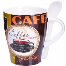 28469 кружка coffee 340 мл с ложкой lr (х36)