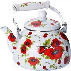 """27497 чайник эмаль 2,5л с/кр """"розы"""" mb (х18)"""