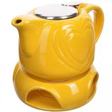 28687-1 завар/чайник желтый 700мл подст/подогрев lr (х8)