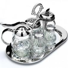 23386 набор для специй 6пр (соль,перец,масло,поднос,сахарница,приправы) мв (х24)