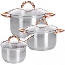 28815 набор посуды 6пр 2+2,5+3,5 л mb (х4)