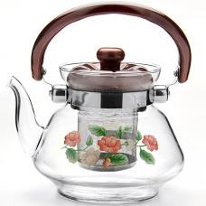 2589 чайник заварочный mb 0,8л стекл/мет/сит (х12)