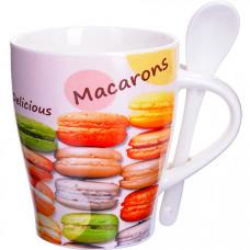 28475 кружка macarons 340 мл с ложкой lr (х36)