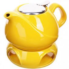 28684-1 завар/чайник желтый 750мл подст/подогрев lr (х12)