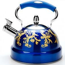 29054 чайник со свистком метал. 2,6л синий мв(х12)