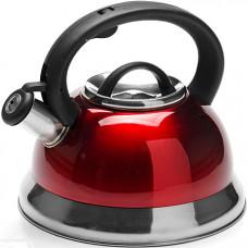 25746 чайник метал. 3л со свистком красный mb(х12)