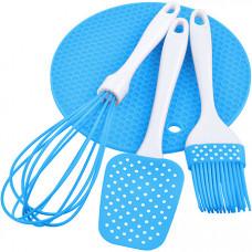 28073-3 набор кухонный 3пр силикон голубой mb (х48)