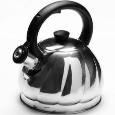25895 чайник серебристый со свистком из нержавеющей стали, 2 литра, mb, в упаковке 12 штук