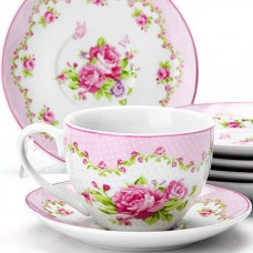 25926 чайный сервиз 12пр 220мл цветы lr (х6)