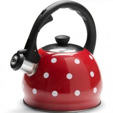 25893 чайник красный со свистком из нержавеющей стали, 2 литра, mb, в упаковке 12 штук