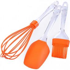 28071-1 набор кухонный 3пр силикон оранжевый mb (х48)