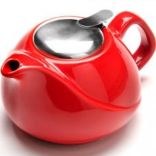 23057-5 заварочный чайник керамика 750мл красный lr (х24)