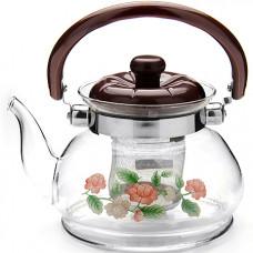2587 чайник заварочный мб 0,8л стекл/мет/сит (х18)